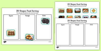 Food 2D Shape Sorting Activity - shapes, maths, ordering, order, 2D shape, food, sort, square, triangle, circle