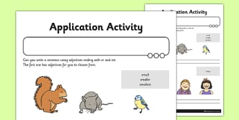 Adjectives with er and est Application Activity Sheet - GPS, spelling, grammar, suffix, er, est, worksheet