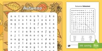 L'Autunno Parole Intrecciate - autunno, parole, intrecciate, autunnale, zucche, italian, italiano, materiale, scolastico