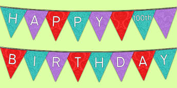 Happy 100th Birthday Bunting - 100th birthday party, 100th birthday, birthday party, bunting