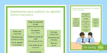 Opinion Phrases Display Poster Spanish Translation - spanish, opinion phrases, display poster, display, poster, opinion, phrase