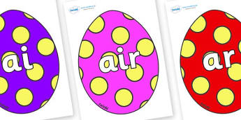 Phase 3 Phonemes on Easter Eggs (Spots) - Phonemes, phoneme, Phase 3, Phase three, Foundation, Literacy, Letters and Sounds, DfES, display