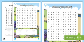 Schoolyard Safari Word Search - primary connections, ACSSU211, ACSSU017,Australia