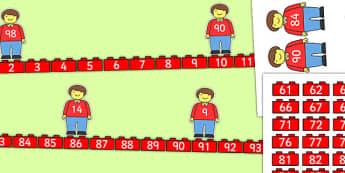 Building Brick Man Number Line Bonds 0 to 100 Matching Activity - building brick, number line, bonds