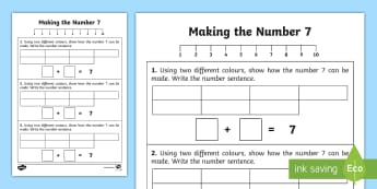 Algebra Ways of making 7 Activity Sheet - Algebra,Ways of making 7, counting, adding, addition, worksheet