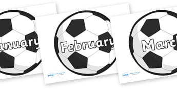 Months of the Year on Footballs - Months of the Year, Months poster, Months display, display, poster, frieze, Months, month, January, February, March, April, May, June, July, August, September