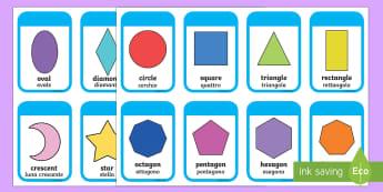 2D Shape Cards English/Italian - 2D Shape names, Shape Flashcards, Shape Pictures, Shape Words, 2D flashcards, numeracy, geometry, sh