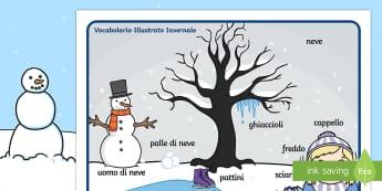 Vocabolario illustrato invernale - Vocabolario illustrato, Inverno, vocaboli, scrittura, indipendente, italiano, italian, english