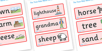 The Train Ride Word Cards - The Train Ride, June Crebbin, journey, transport, resources, rhyme, rhythm, tractor, story, story book, story book resources, story sequencing, story resources, Word cards, Word Card, flashcard, flashcards,