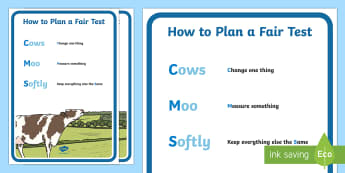 How to Plan a Fair Test Display Posters - planning science investigation, cows moo softly, science inquiry, science mnemonics,Australia