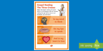 The Three Crosses Blessing Ourselves Display Poster - blessing, irish, prayer, heart, lips, religion