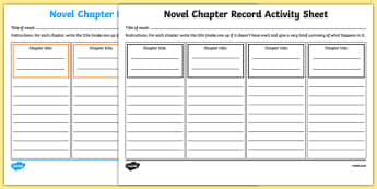 Novel Chapter Record Activity Sheet-Irish, worksheet