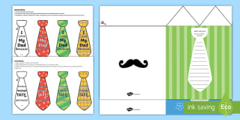 Father's Day Flap Tie Card Craft English/Polish - Fathers Day Flap Tie Card Craft - fathers, day, flap, tie, card,EAL,Polish-translation