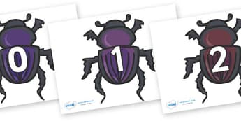 Numbers 0-31 on Egyptian Beetles (Scarab) - 0-31, foundation stage numeracy, Number recognition, Number flashcards, counting, number frieze, Display numbers, number posters