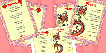 Chinese Restaurant Menus - Chinese restaurant, menu, menus, takeaway, food, chinese food, restaurant, Chinese new year, China, lantern, dragon, chopsticks, noodles, year of the rabbit, ox, snake, fortune cookie, pig, money wallet