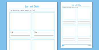 Like and Dislike Activity Sheet, worksheet