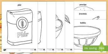 Pancake Tuesday Colouring Pages - Pancake Tuesday, Máirt na hInide,Irish, vocabulary, ingredients, pancakes.