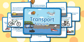 Amazing Transport Display Fact Cards - transport, facts