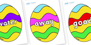 Next 200 Common Words on Easter Eggs (Striped) - Next 200 Common Words on  - DfES Letters and Sounds, Letters and Sounds, Letters and sounds words, Common words, 200 common words