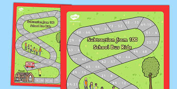 Subtraction From 100 Bus Board Game - subtraction, 100, bus, board game, subtract