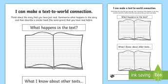 CfE Text to Text Connections Activity Sheet- - CfE Literacy, reading comprehension strategies, text to text connections, reading, comprehension, an