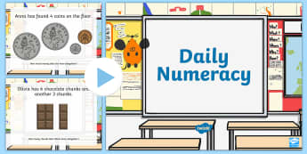 Year 2 Daily Numeracy Activities PowerPoint - Numeracy, Year Two, Money, Number, Time, Weight, PowerPoint, Numeracy PowerPoint, Welsh