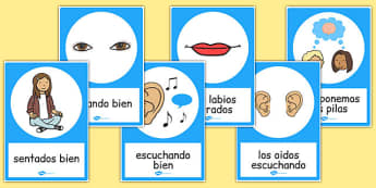 Good Listening Posters Spanish - spanish, good listening, posters, display, communication