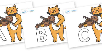 A-Z Alphabet on Cat and Fiddle - A-Z, A4, display, Alphabet frieze, Display letters, Letter posters, A-Z letters, Alphabet flashcards