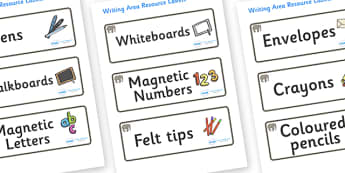 Elephant Themed Editable Writing Area Resource Labels - Themed writing resource labels, literacy area labels, writing area resources, Label template, Resource Label, Name Labels, Editable Labels, Drawer Labels, KS1 Labels, Foundation Labels, Foundati