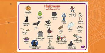Halloween Word Mat Arabic Translation - arabic, halloween, hallowe'en, word mat, word, mat