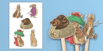Beatrix Potter - The Tale of Benjamin Bunny Stick Puppets - beatrix potter, benjamin bunny