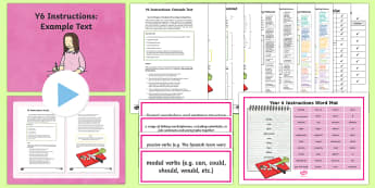 Y6 Instructions Example Text - Example Texts Y6, instruction, genre, features, SPaG, WAGOLL, checklist, exemplification, exemplar,