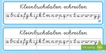 Kleinbuchstaben in Schreibschrift schreiben Banner für die Klassenraumgestaltung - Kleinbuchstaben schreiben, Kleinbuchstaben, Kleinbuchstaben in Schreibschrift, Schreibschrift, Verei