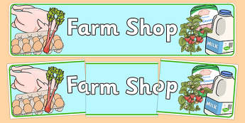 Farm Shop Role Play Display Banner Alt - Farm Shop Role Play, banner, farm shop resources, farm, milk, cheese, eggs, till, animals, meat, cheese, living things, butcher, role play, display, poster