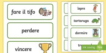 La lepre e la tartaruga Parole Illustrate - la, lepre, e la, tartaruga, parole, voacboli, storia, favola, esopo, italiano, italian, materiale, s