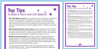 Top Tips to Build in Work Life Balance - 5, top tips, build, work life, balance