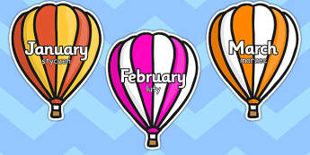 Months of the Year on Hot Air Balloons Stripes Polish Translation - display, calendar, year, yearly, colourful, seasons, birthdays, early years, ks1, key stage 1, ks2