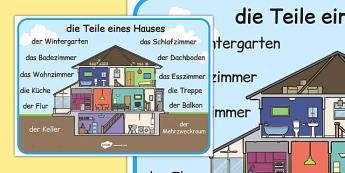 die Teile eines Hauses Word Mat German - german, parts, house, parts of a house, word mat, word, mat