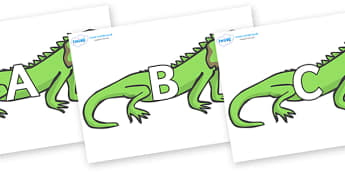 A-Z Alphabet on Iguanas - A-Z, A4, display, Alphabet frieze, Display letters, Letter posters, A-Z letters, Alphabet flashcards