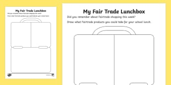 Fair Trade Activity Sheet - NI,  Fairtrade Fortnight, 27/02/2017, fair trade, fairtrade, lunch, lunchbox, drawing, dinner.