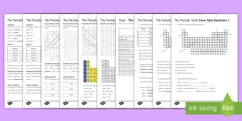Periodic Table Assessment Package - Assessment Package, periodic table, elements, compounds, groups, periods, gases