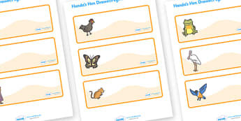 Handa's Hen Drawer-Peg-Name Labels - Handa's Hen, Eileen Browne, Editable Drawer-Peg-Name Labels-Classroom Label Templates, Resource Labels, Name Labels, Editable Labels, Drawer Labels, Coat Peg Labels, Peg Label, KS1 Labels, Foundation Labels, Found