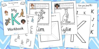 My Workbook K uppercase - workbook, K sound, uppercase, letters, alphabet, activity, handwriting, writing