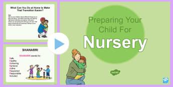 Preparing Your Child for Nursery PowerPoint - transition, home to nursery, starting nursery, starting school, Back to school, ,Scottish