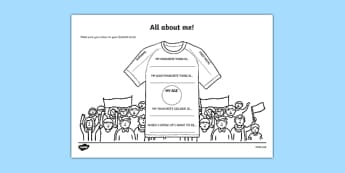 All About Me Football T-Shirt Worksheet - ourselves, foot ball, sports, pe