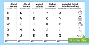 Alphabet Initial Sounds Matching Activity Sheets - phase 1, phase one, matching
