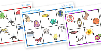 Connecting Words Compound Bingo - connecting words, connecting, comound, words, bingo, game, activity, adding, connect