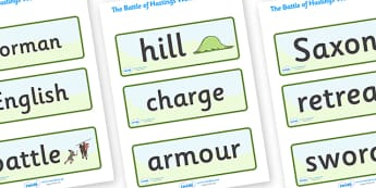 The Battle of Hastings Word Cards - The Battle of Hastings, English, Normans, battle, word card, flashcards, cards, Saxons, Harold, William, sword, archer, retreat, cavalry, arrow, eye