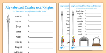 Castles and Knights Alphabet Ordering Differentiated Activity Sheet Pack, worksheet
