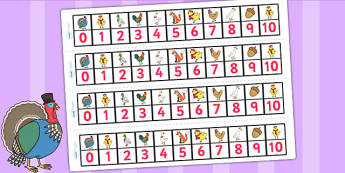 Chicken Licken Number Track 0 10 - counting aid, count, stories